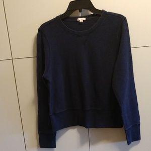 GAP L Crop Sweatshirt Top Pullover Navy Blue